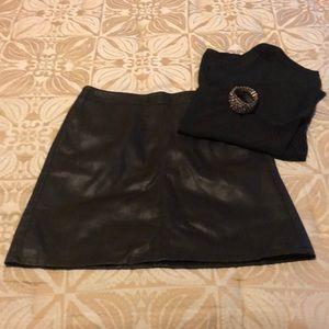LOFT faux leather black skirt 4